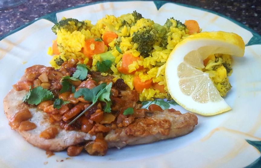Cashew Pork with Lemon Rice and Seasonal Vegetables