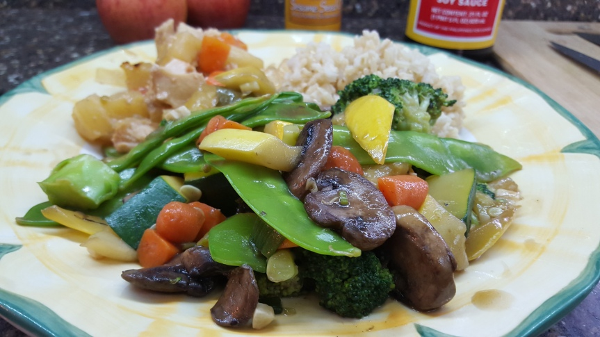 Stir Fried Vegetables with Sweet and Sour Chicken with Brown Rice
