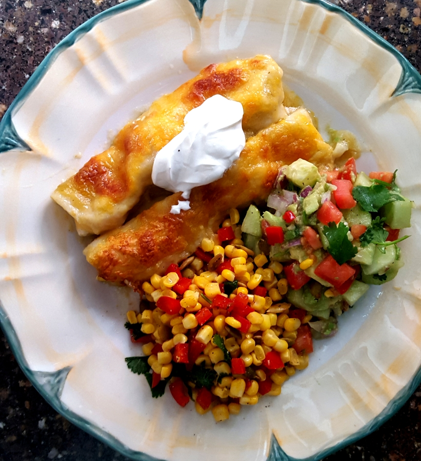 Enchilada Dinner with Corn Salsa and Avocado Tomato Salad
