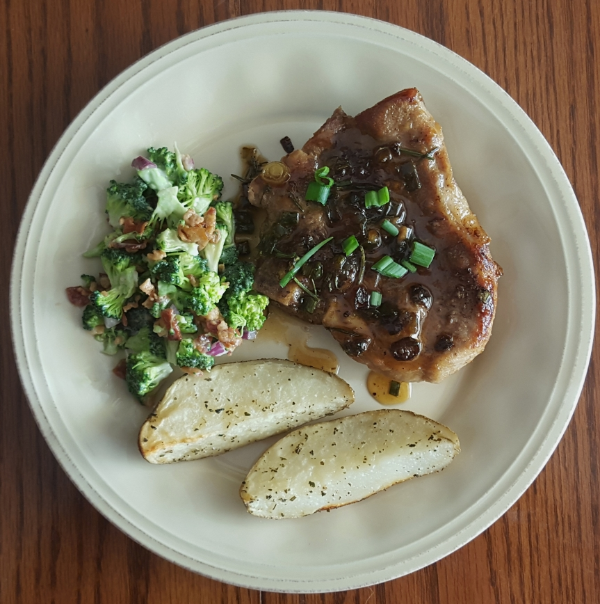 Pork Chops Broccoli Salad Potatoes